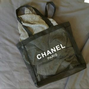 Authentic Chanel beauty summer tote bag sheer